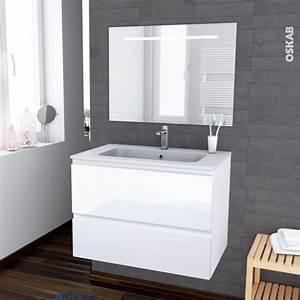 ensemble salle de bains meuble ipoma blanc brillant plan With salle de bain design avec plan vasque resine salle de bain