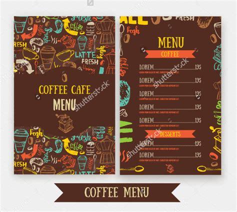 Cafe Menu Template by 20 Coffee Menu Templates Free Sle Exle Format