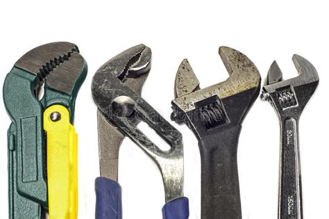 Set Of Different Types Used Wrenches Stock Photo Image