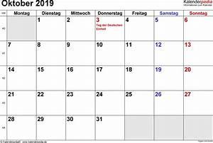 Kalender 18 19 : kalender oktober 2019 als excel vorlagen ~ Jslefanu.com Haus und Dekorationen