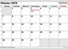 Kalender Oktober 2019 als ExcelVorlagen