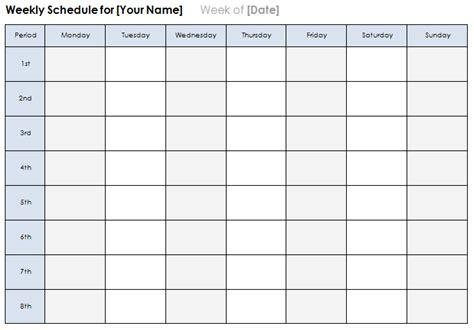 weekly calendar template plan daily  weekly tasks