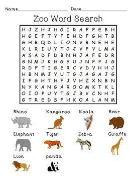zoo animals word search seek  find  images