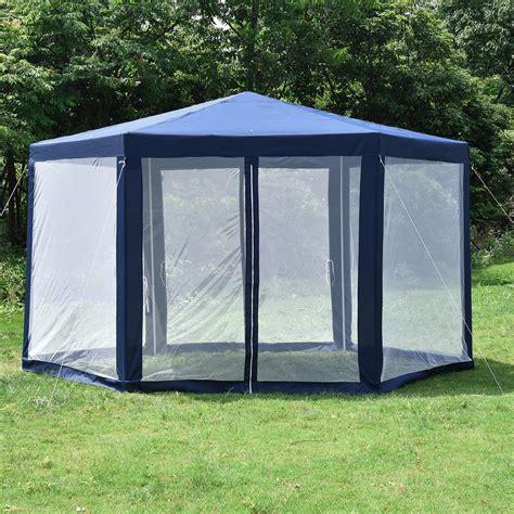 hexagonal gazebo outdoor patio canopy  mosquito net  colors