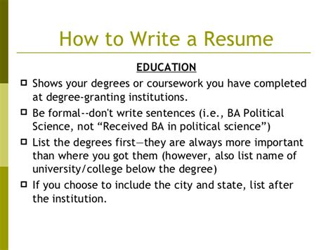 How To Put Degree On Resume by List Degree On Resume