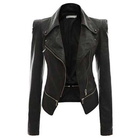 Motorcycle Style Slim Fit Leather Jacket For Women