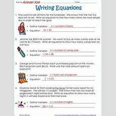 Writing Equations From Word Problems  Common Core 7ee 6ee By Laura Becker