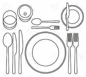 Simple Dining Room Table Clipart Black And White Interior ...