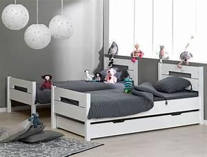 Lit Enfant Superposé : lit superpos enfant milo blanc 90x190 avec 2 matelas chambrekids ~ Melissatoandfro.com Idées de Décoration