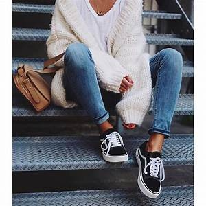 Shoes tumblr vans black sneakers sneakers denim jeans blue jeans cardigan white ...