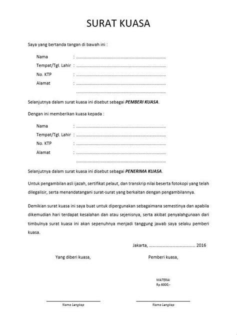 Contoh Surat Kuasa Pengambilan Berkas by Contoh Surat Kuasa Pengambilan Berkas Suratmenyurat Net