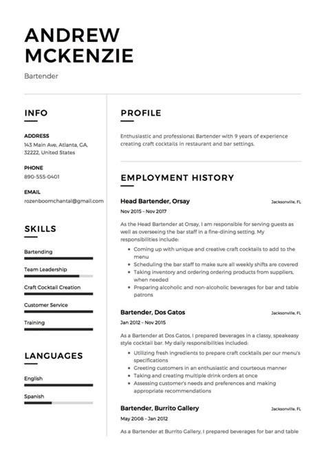 Bartender Resume by 12 Free Bartender Resume Sles Different Designs