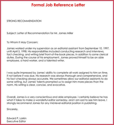 formal reference letter  sample letters examples