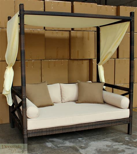 outdoor bali style sun day bed lounger sofa wcanopy patio