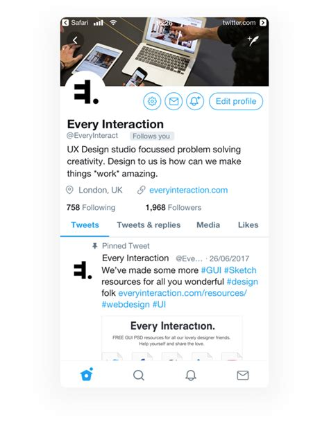 Twitter Feed Photoshop Template by Twitter Profile Gui Psd Sketch Template Every Interaction