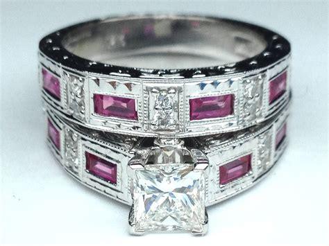 Engagement Ring -princess Diamond Vintage Engraved Bridal