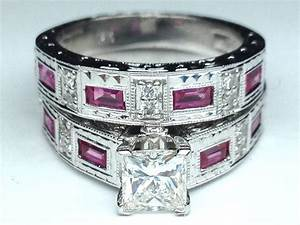 Engagement ring princess diamond vintage engraved bridal for Wedding ring sets with sapphire accents