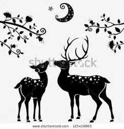 Black and White Deer Silhouette