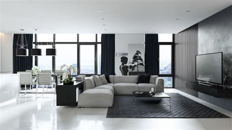 2 Modern Apartments Under 1200 Square Feet Area For Young Families (Includes 3D Floor Plans) : 3 Living Spaces With Dark And Decadent Black Interiors