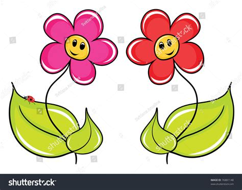 Two Fine Cartoon Flowers Stock Vector 76881148