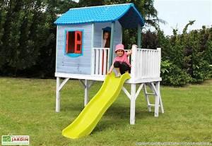 Maison Enfant Bois : cabane enfant exterieur toboggan ~ Teatrodelosmanantiales.com Idées de Décoration