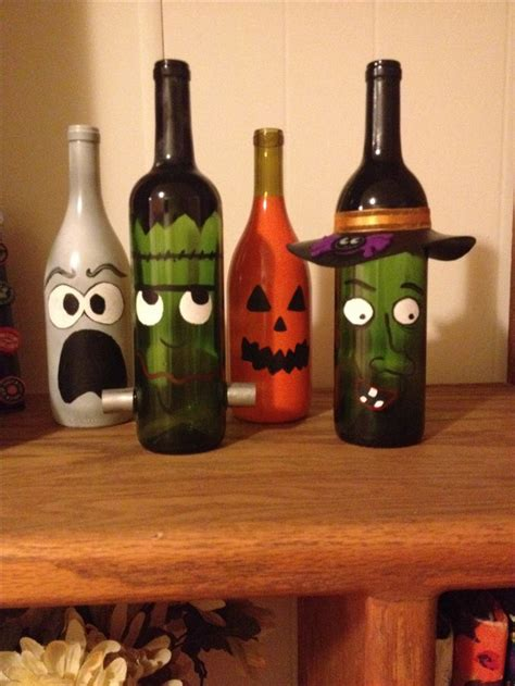 painted wine bottle decor halloween diy atorigami owl