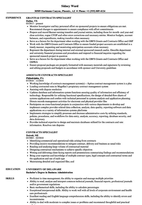 Contract Specialist Resume Exle by Sle Cover Letter For Contract Specialist Testimonails