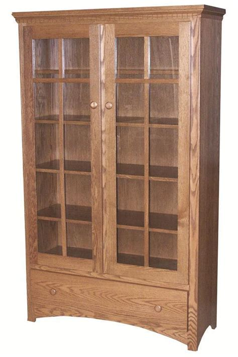Mission Bookcase Glass Doors by Amish Mission Bookcase With Glass Doors From Dutchcrafters