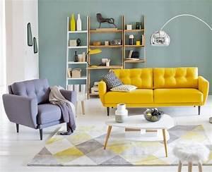 Salon scandinave 38 idees inspirations diaporama for Tapis oriental avec canapé vintage la redoute