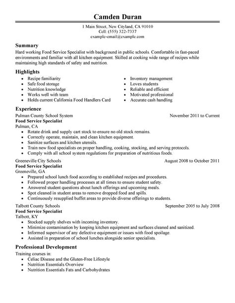 Education Services Specialist Resume by Food Specialist Resume Exles Education Resume Sles Livecareer