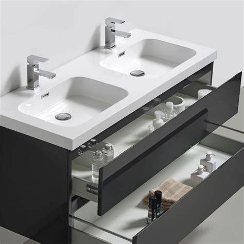 meuble bas de salle de bains gris happy avec plan et 2