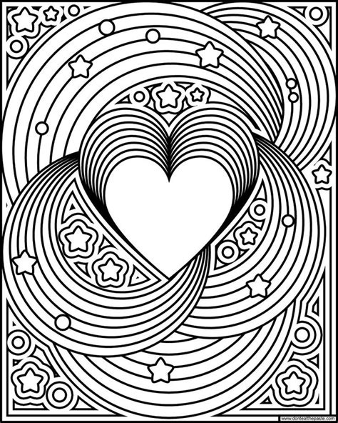 rainbow love coloring page  images heart coloring