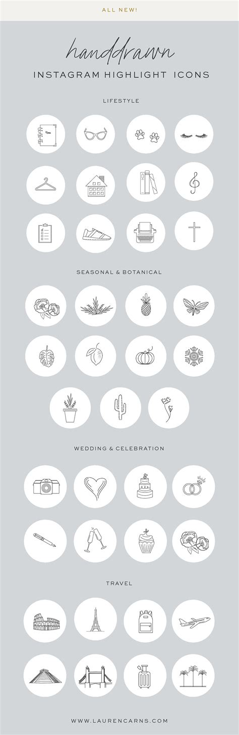 handdrawn instagram highlight icons templates covers icons