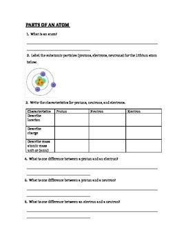 atomic structure parts of an atom worksheet by lam tpt