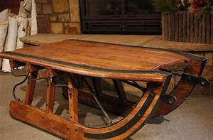 logging sled coffee table mountain original vintagewinter With antique sled coffee table