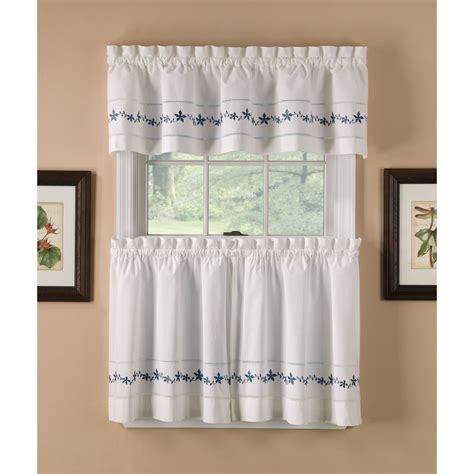 Kmart Kitchen Tier Curtains by Country Classics Lace Embroidered Floral Blue Tier Curtains