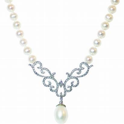 Necklace Elegant Diamond Gold Pearls 14kt Lane
