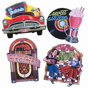 Dekoration 50er Jahre : rock roll mottoparty 50er jahre deko motive 4 stk party hop ~ Sanjose-hotels-ca.com Haus und Dekorationen