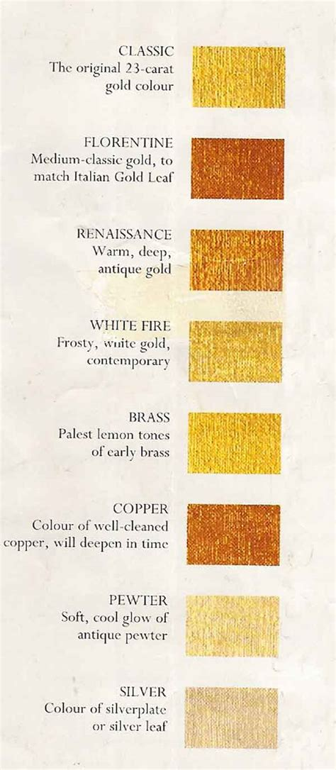 Golden Colour Chart by Liquid Leaf Colour Chart For Gold Leaf Gilding Information