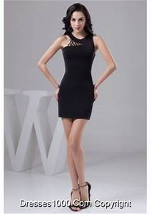 Sheath Scoop Neck Short Black Prom Dress with Cut Out