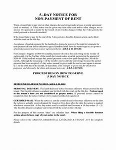 Rent Overdue Notice Arizona Five Day Notice For Non Payment Of Rent Free Download