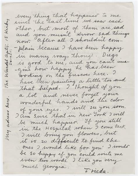 frida kahlos touching letter   troubled georgia