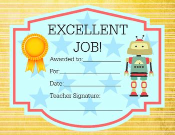 award certificate robot theme excellent job