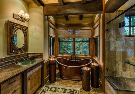 rustic interior design bathroom 20 rustic bathroom designs with copper bathtub Rustic Interior Design Bathroom