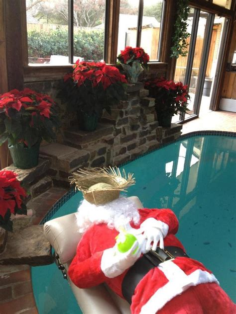 holiday pool decorating santa kickins  holiday