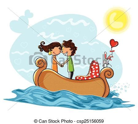 Love Boat Clipart by Clipart Vector Of Love Couple Kissng In Boat Love Couple
