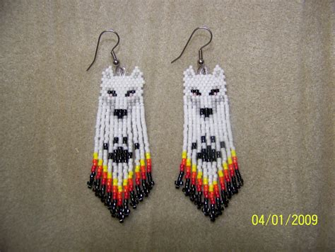 Hand Seed Bead White Wolf Native Style Beaded Earrings