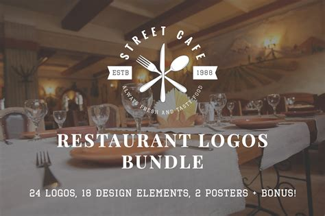 set  vintage restaurant logos logo templates