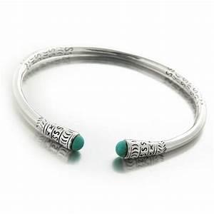 Bracelet En Argent Homme : bracelet esclave ou jonc saccalava mixte en argent et cabochon de turquoise ~ Carolinahurricanesstore.com Idées de Décoration