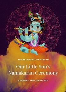 Name Date Designs Bal Krishna Namakaran Invitation Invites